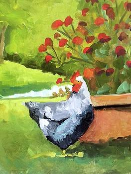 Hen and Amaranth by Susan E Jones