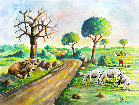 Herding near the Road by Anthony Mwangi