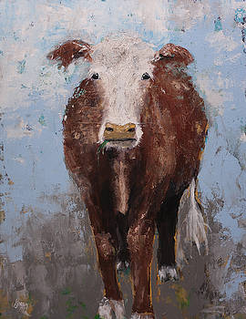 Hereford Brown Cow Portrait Farm Animal Painting by Gray  Artus