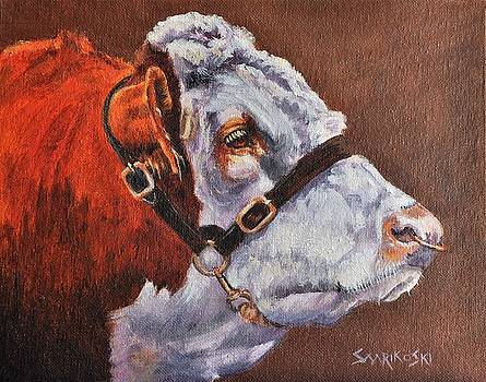 Hereford Bull Portrait by Louise Charles-Saarikoski
