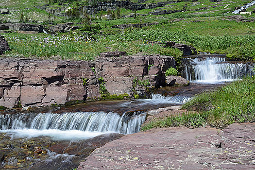 High Country Cascades in Glacier National Park by Bruce Gourley