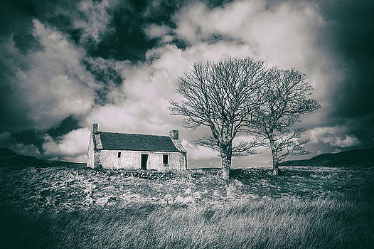 Highland Cottage, monochrome. by David Hare