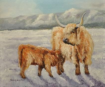 Highland Cow and Calf by Louise Charles-Saarikoski