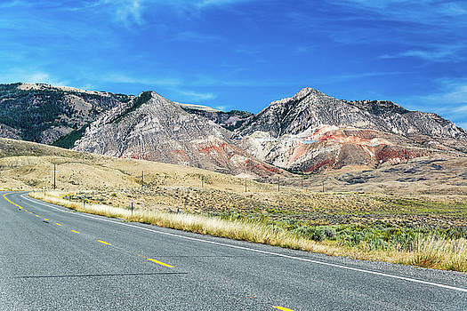 Highway and Bighorn Mountains by Jess Kraft