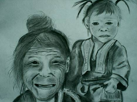 Hill Tribe Lady and Child by Colin O neill