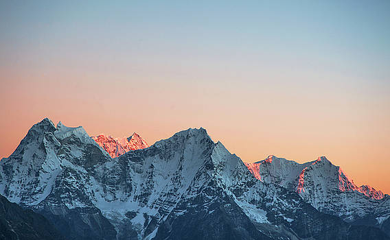 Himalayan mountains at twilight by Marlene Ford