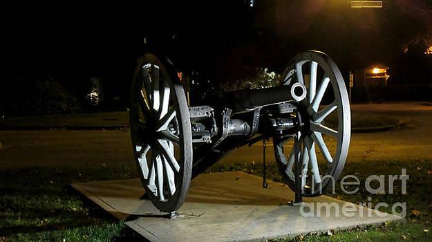 Historic Military Cannon at Night in Nova Scotia Canada by John Malone