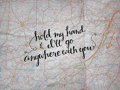 Hold My Hand Map Pillow by Michelle Eshleman