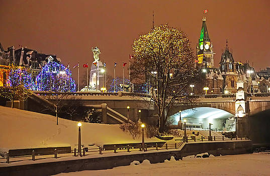 Holiday in Ottawa - Parliament and Peace Tower Night Lights by Alex Khomoutov