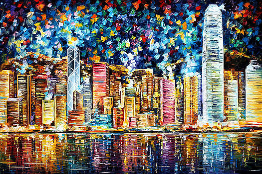 Hong Kong - PALETTE KNIFE Oil Painting On Canvas By Leonid Afremov by Leonid Afremov