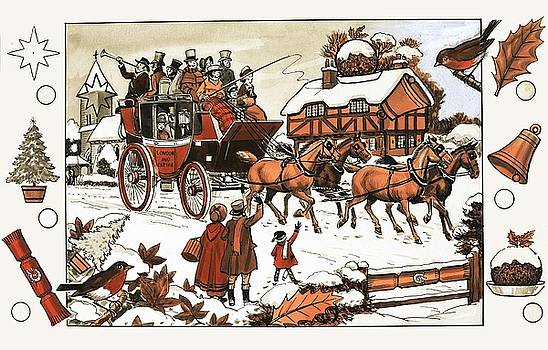 English School - Horse and carriage in the snow