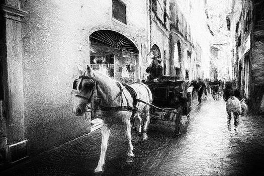 Horse carriage - impressionist street photography by Frank Andree