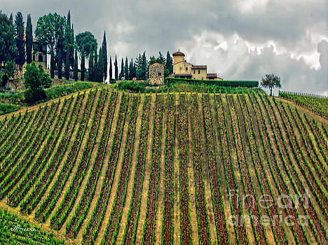 House on a Hill-Tuscany by Jennie Breeze