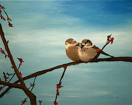 House Sparrows on a Branch by Becka Noel