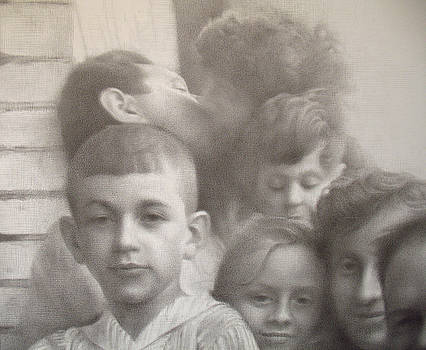 Housewarming 1965. Self with dead relatives - detail by Yuri Yudaev