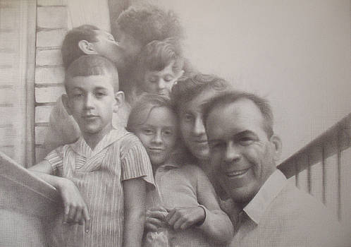 Housewarming 1965. Selfportrait with dead relatives by Yuri Yudaev