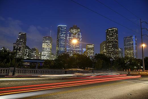Houston Skyline at night by Tracey Bautista
