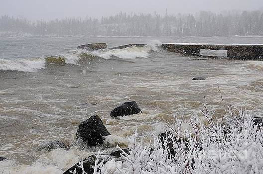 Hovland Dock during March Storm by Sandra Updyke