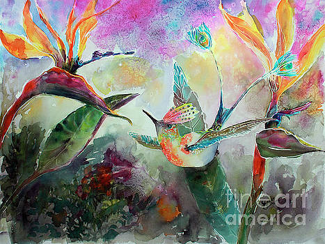 Ginette Callaway - Hummingbird and Birds of Paradise Tropical Watercolor