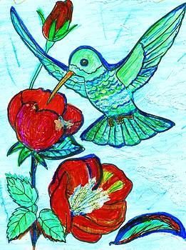 Hummingbird and his Sippie-Cup by Anne-elizabeth Whiteway