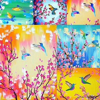 Hummingbird Collage 2 by Cathy Jacobs