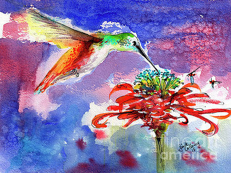 Ginette Callaway - Hummingbird Drinking from Red Flower