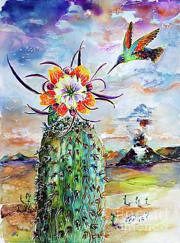 Ginette Callaway - Hummingbird on Cactus Flower Watercolor