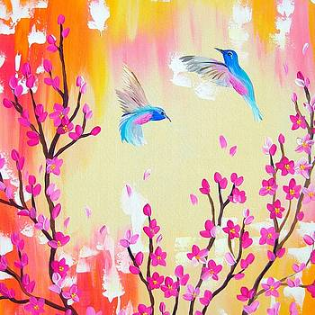 Hummingbirds with pink and yellow by Cathy Jacobs