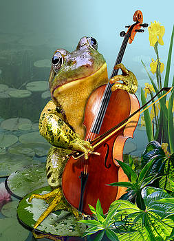 Humorous scene frog playing cello in lily pond by Gina Femrite