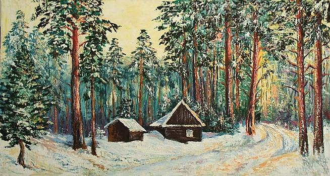 Hunting Lodge in Winter by Stanislav Zhejbal