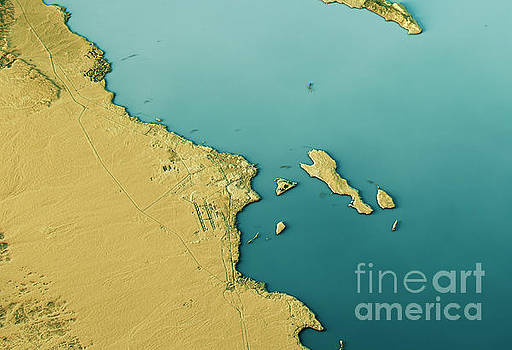 Hurghada 3D Landscape View South-North Natural Color Top View by Frank Ramspott