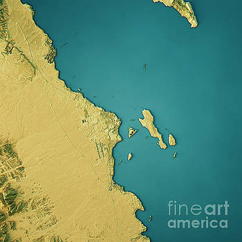 Hurghada Topographic Map Natural Color Top View by Frank Ramspott