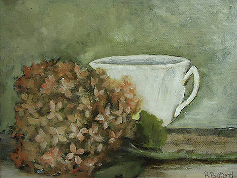 Hydrangea and teacup by Rena Buford