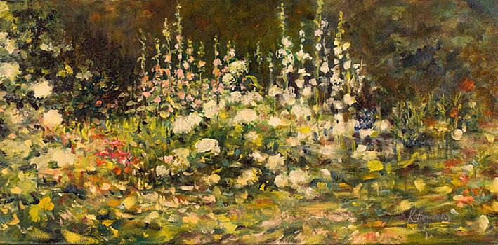 Hydrangeas and Hollyhocks at Billings Estate by Kathy Harker-Fiander