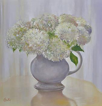 Hydrangeas in a Round Vase by Kathy Harker-Fiander