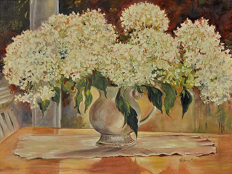 Hydrangeas on my Table by Kathy Harker-Fiander
