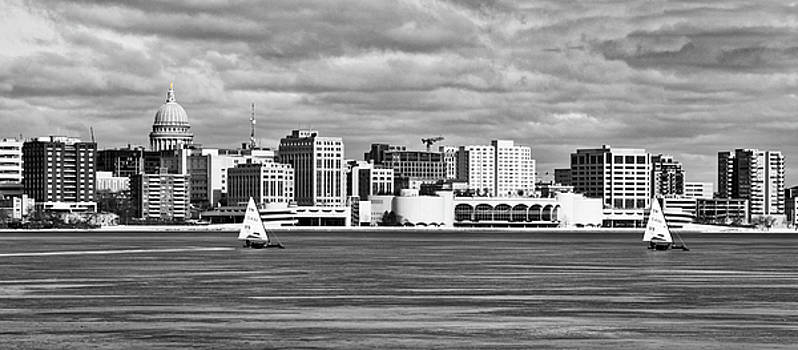 Ice Sailing BW - Madison - Wisconsin by Steven Ralser