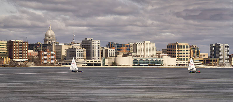 Ice Sailing - Lake Monona - Madison - Wisconsin by Steven Ralser