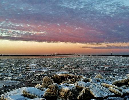 Icy Delaware at Sunset by Ed Sweeney