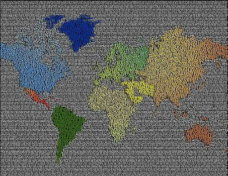I'd Like To Teach The World To Sing World Map by Paul Van Scott