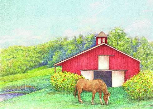 Idyllic summer landscape barn with horse by Judith Cheng