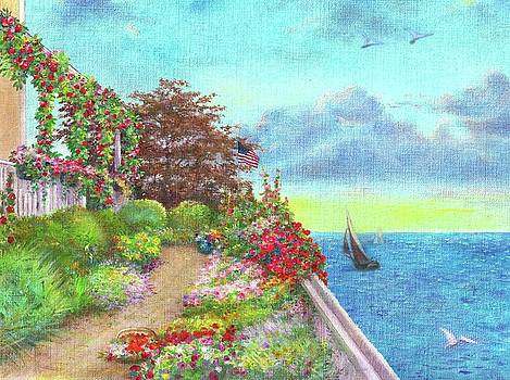 Illustrated Beach Cottage Water's Edge by Judith Cheng