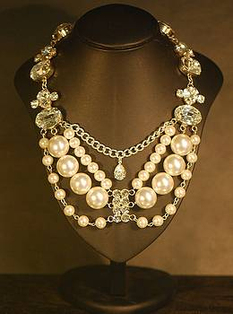 Imitation Pearl and Crystal Necklace by Janine Antulov