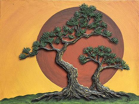 Impasto - Bonsai with Sun - One by Lori Grimmett