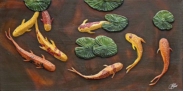 Impasto painting - School of Koi by Lori Grimmett