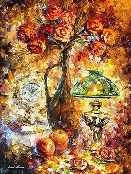 Impressional Roses - PALETTE KNIFE Oil Painting On Canvas By Leonid Afremov by Leonid Afremov