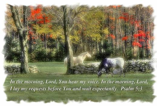 In the Morning Lord, You Hear My Voice. I Lay My Requests Before You and Wait Expectantly. Psalm 5.3 by Michael Mazaika