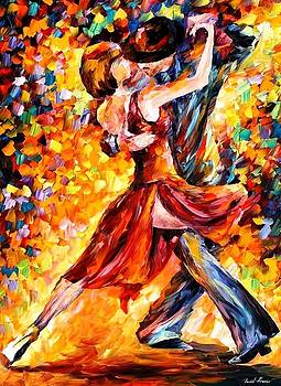 In The Rhythm Of Tango - PALETTE KNIFE Oil Painting On Canvas By Leonid Afremov by Leonid Afremov