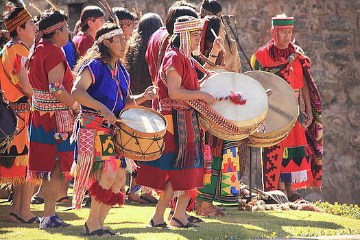 Inca Drummers at Inti Raymi Festival by Roupen  Baker