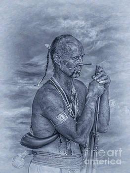 Indian Warrior Portrait Blue by Randy Steele
